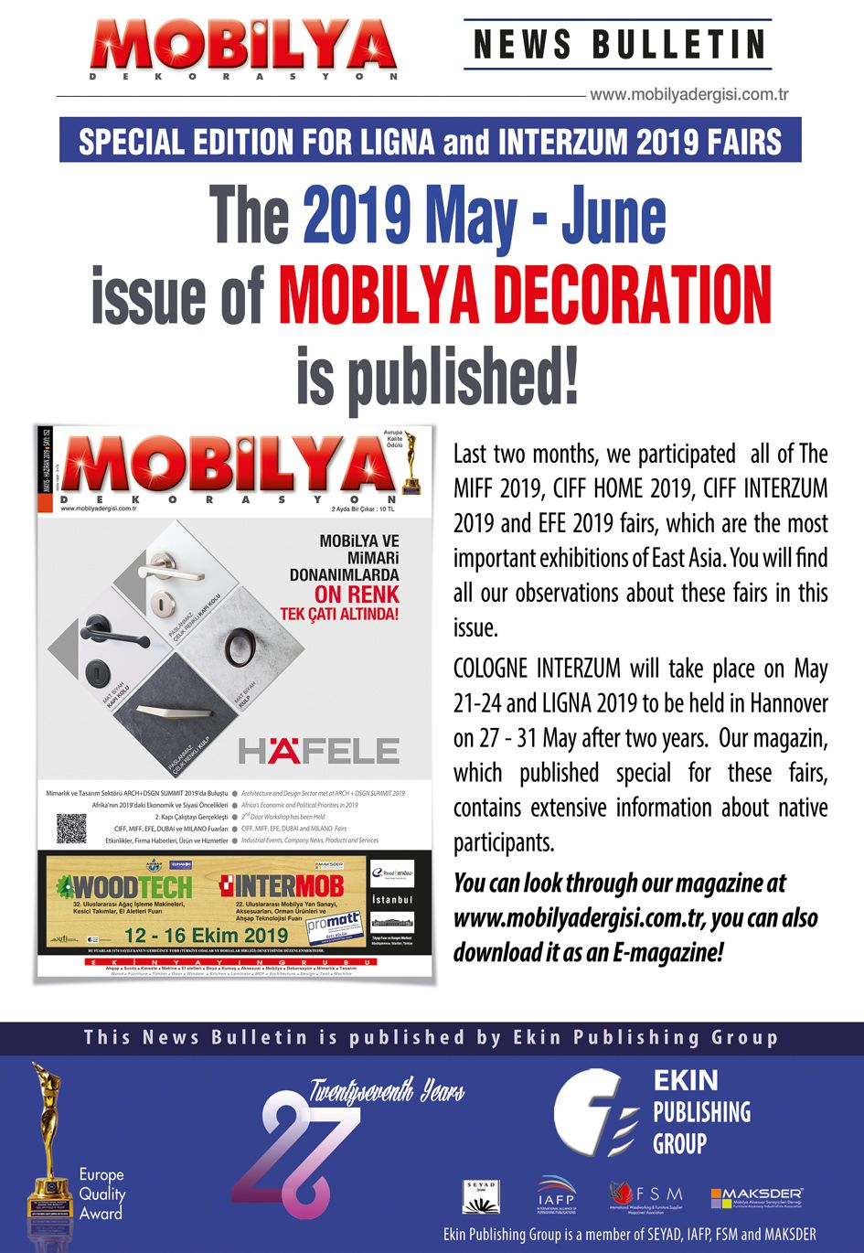 MOBİLYA DERGİSİ İSSUE 152 MAY 2019